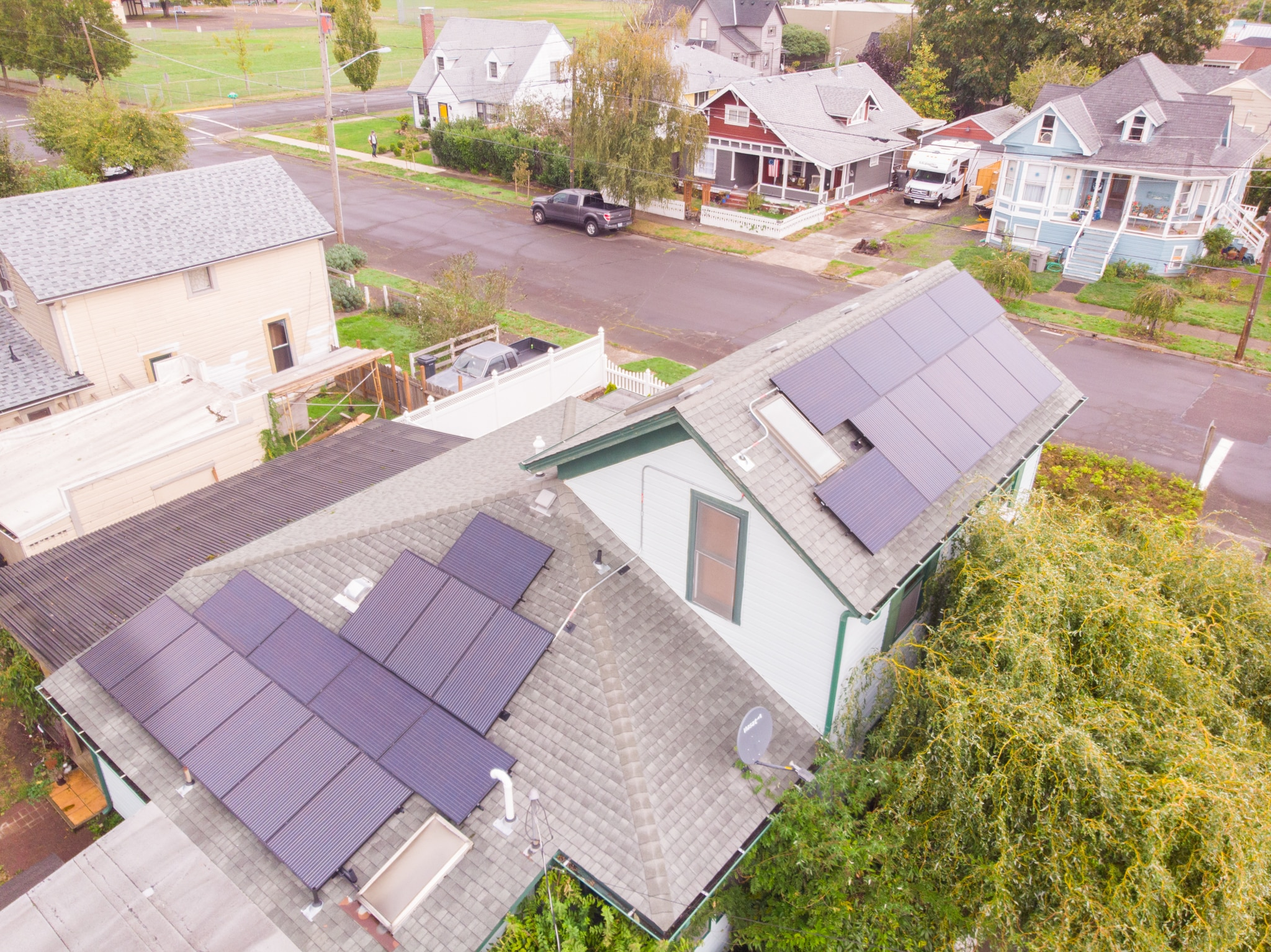 Solar panels on historic home in Albany, Oregon